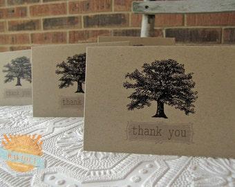 Vintage Oak Tree Thank You Notes set of twenty