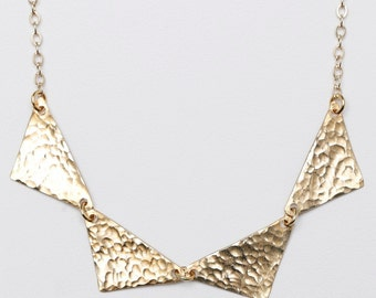 Gilchrist Hammered Gold Bunting Gold Chain Necklace // Perfect Special Holiday Gift For Her