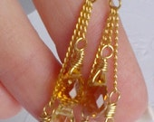 Rich Tricolored Gemstone Drop Earrings in Gold