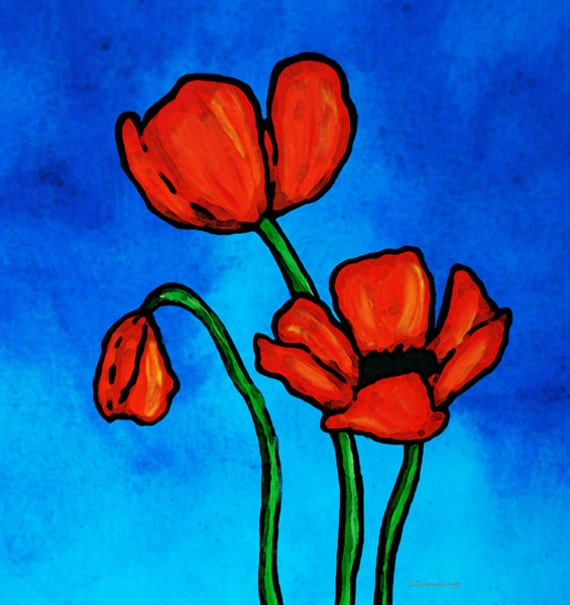 Red Poppies Print from Painting Colorful Blue Sky Poppies Love