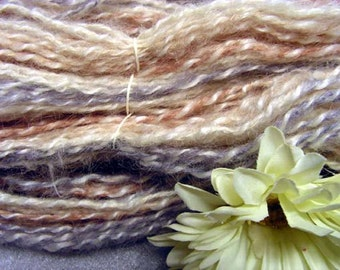 Y269  Hand Spun natural Mohair plied with Commercial Mohair Pastels