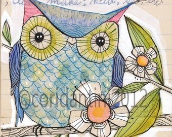 blue owl - watercolor painting - illustration - 8 x 8 inches - archival, limited edition print by cori dantini