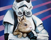 Digital print created from from original artwork of Stormtrooper with Bunny