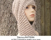 Instant Download Knitting Pattern PDF - Knitting Pattern PDF for Swirl Beanie Scarf Hat Hooded Scarf - Womens Accessories