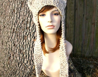 Womens Hat Ear Flap Cat Hat Oatmeal Knit Hat - Oatmeal Hat Oatmeal Beanie Oatmeal Ear Flap Hat Womens Accessories Winter Hat