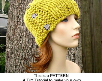 Instant Download Knitting Pattern - Knit Hat Knitting Pattern - Knit Hat Pattern for Cardigan Beanie - Womens Hat - Womens Accessories