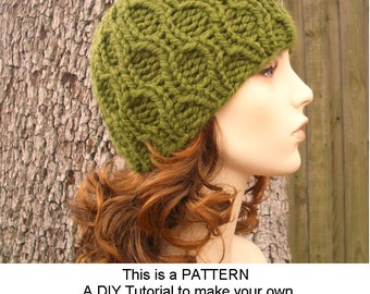 Instant Download Knitting Pattern - Knit Hat Pattern for Amsterdam Beanie Hat With and Without Visor - Womens Accessories