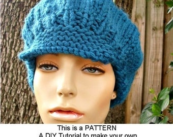 Instant Download Knitting Pattern - Knit Hat Pattern Chunky Newsboy Hat Pattern - Womens Hat Pattern Knit Beret Pattern - Womens
