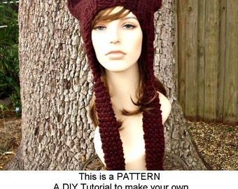 Instant Download Knitting Pattern - Knit Hat Knitting Pattern - Knit Hat Pattern Ear Flap Cat Hat Pattern - Womens Hat - Womens