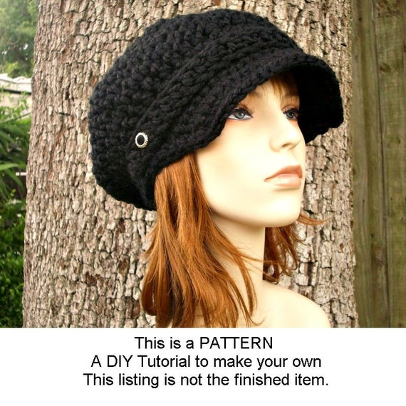 Instant Download Crochet Pattern - Hat Crochet Pattern - Crochet Hat Pattern for The Slouchy Newsboy Hat - Womens Hat Winter Fashion