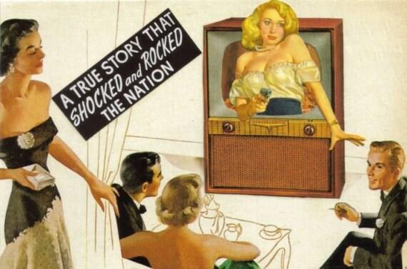 Original Collage Art Blonde Femme Fatale Paper Collage Noir Girl With Gun Crime Scene