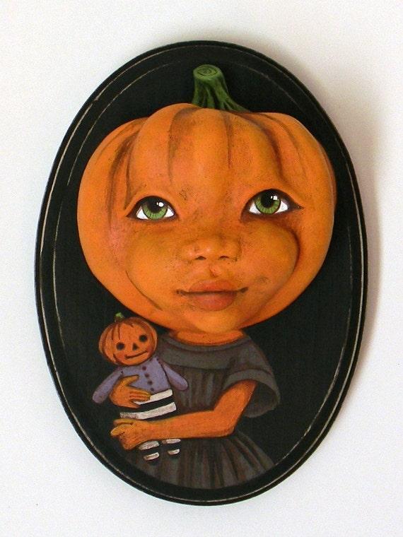 Halloween Pumpkin Jack O Lantern Girl Portrait-- Original Hand Painted Folk Art Doll Sculpture OOAK