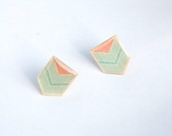 Chevron Post Earrings - Geometric Post Earrings in Mint, Pink, and Sky Blue