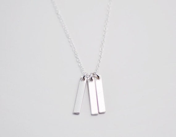Three bars necklace - tiny bars - vertical bar necklace - long sterling silver necklace - minimalist necklace - dainty necklace- Silver Rays