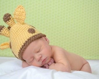 Giraffe Hat Crochet Pattern for Baby  Photo Prop PDF Jungle Animal Baby Instant Download