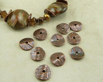 20 TierraCast 10mm Wavy Abstract Disc Cap * Copper plated Lead Free Pewter - I ship Internationally - 0448