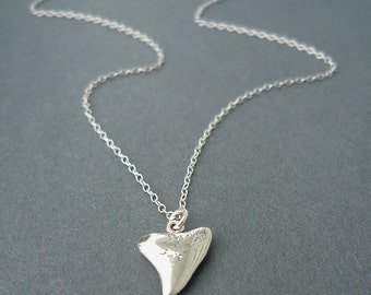 sterling silver shark tooth necklace | charm necklace | shark tooth charm | gift for her