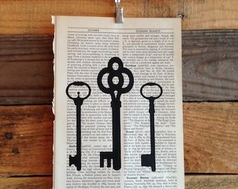 Skeleton Keys Book Page Print