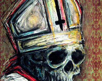 """Print 8x10"""" - The Dead Pope - Skull Skeletons Surreal Horror Abstract God Jesus Bible Evil Death Macabre Church Spooky Creepy Gothic"""