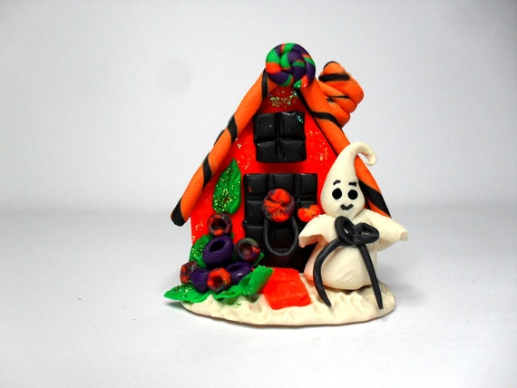classic limited edition halloween miniature hand sculpted polymer clay Whimsy Halloween Haunted House  miniature