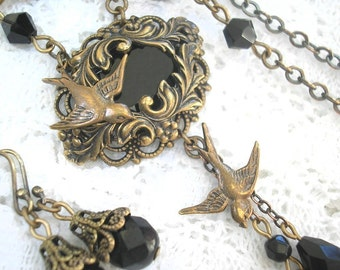 Night Flight - Jet Black Glass and Brass Necklace and Earring Set