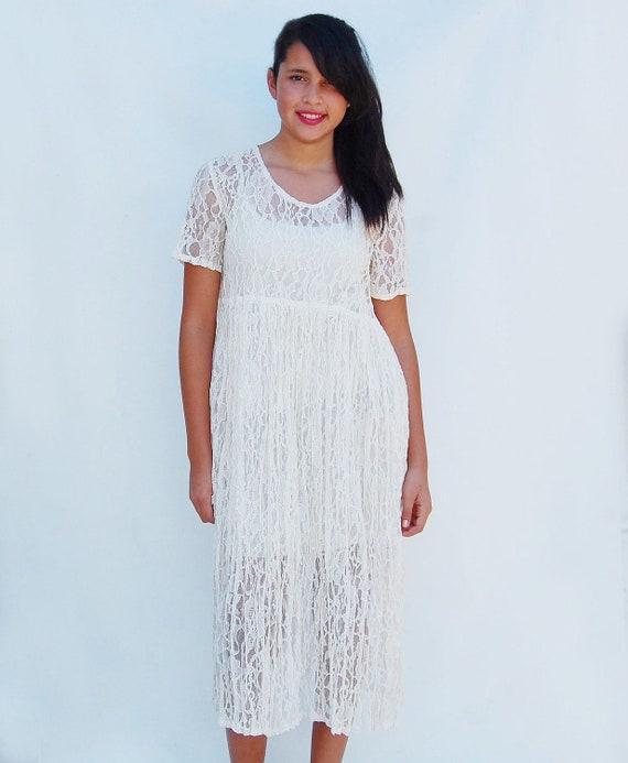 lace empire waist grunge dress (m)