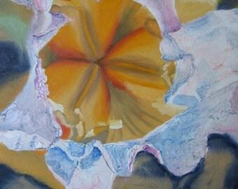 Original Oil Impasto Flower Art Painting, Iris series No 2, impressionist botanical colorful art