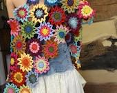 Custom Crochet Shawl Boho Gypsy Shawl Hippie Patchwork Colorful Gypsy Shawl Wrap Hippie Shawl Rainbow Flower Garden Made to Order