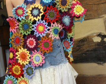 Custom Crochet Shawl Boho Gypsy Shawl Hippie Patchwork Colorful Gypsy Shawl Wrap Hippie Shawl Rainbow Flower Garden Made to Order