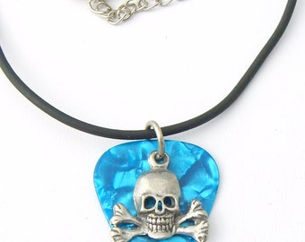 Guitar Pick Aqua Blue with Skull and Crossbones Rock & Roll Pirate Skater Goth Biker Necklace