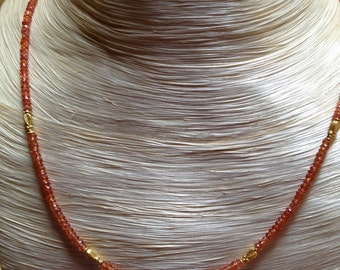 Translucent Orange Sapphire and 18k Gold Necklace