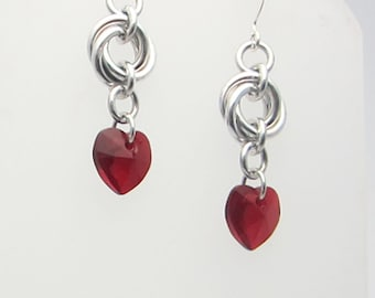 Red Swarovski Crystal Heart Mobius Chainmaille Earrings Handmade