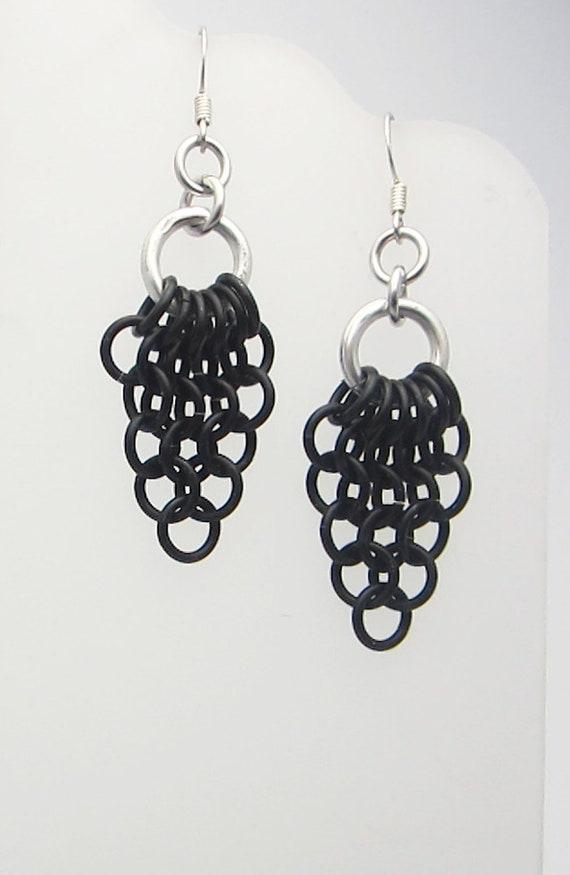 Black Mesh Triangles Chainmaille Earrings Handmade