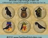Instant Download - Printable Bottle Cap Images - Country Crows - Digital PDF and/or JPG File