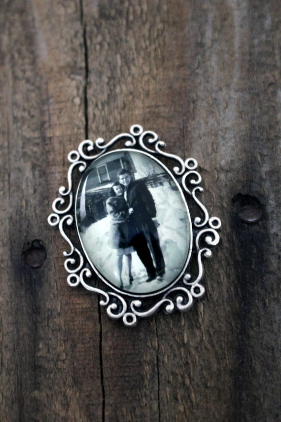 Custom Photo Brooch / Bouquet Pin Charm / Boutonniere - Personalized with Your Custom Photograph or Image - Antique Silver or Bronze