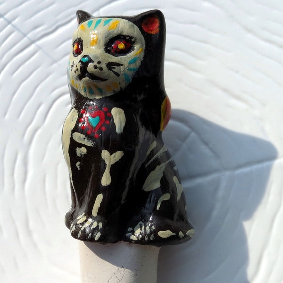 Day of the Dead Kitty Plant Stake