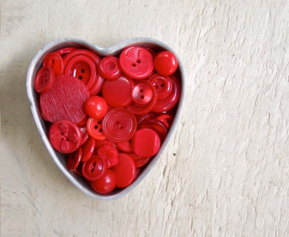 SALE - Red Buttons in Vintage Heart Jello Mold
