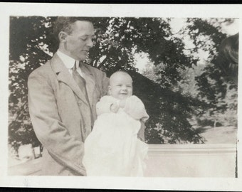 vintage photo Proud Father w Baby Mom on edge to make him Smile
