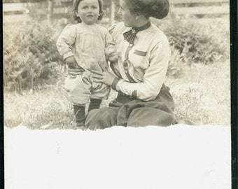 vintage photo Little Boy baby with his Mother Holding Letter on backPt Crescent Washingon rppc 1916