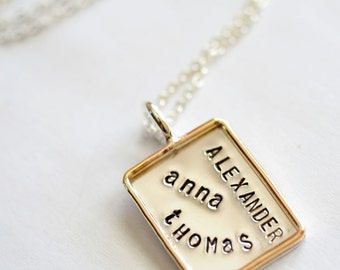7/8 Inch Personalized Hand Stamped Graffiti Sterling Silver Rectangle Pendant with Gold Rim - Stamping on Front Only