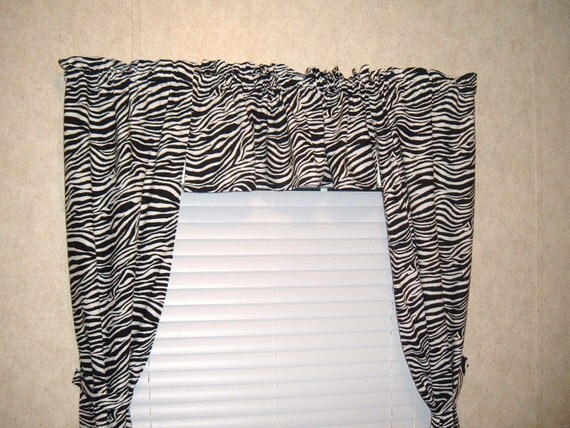 Zebra print curtain set valance and panels window treatment for Animal print window treatments