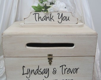 Large Rustic Wedding Card Box Keepsake wooden Chest painted Antique White Personalized Custom Wood box to hold cards
