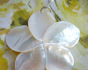 Extra Large Plumeria Necklace - Mother of Pearl - Big Flower White Ivory Sterling Silver Hawaii- Gift Mom Sister Best Friend