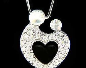 Swarovski Crystal MOM Mother Love Baby Child Kids Hold hands Heart Motherhood Necklace