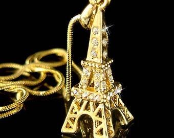 Swarovski Crystal 3D Eiffel Tower Paris France Honeymoon Pendant Gold Plated Necklace Christmas Best Friend Gift New