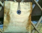 Dupioni Silk Shoulder Bag in Autumn Gold