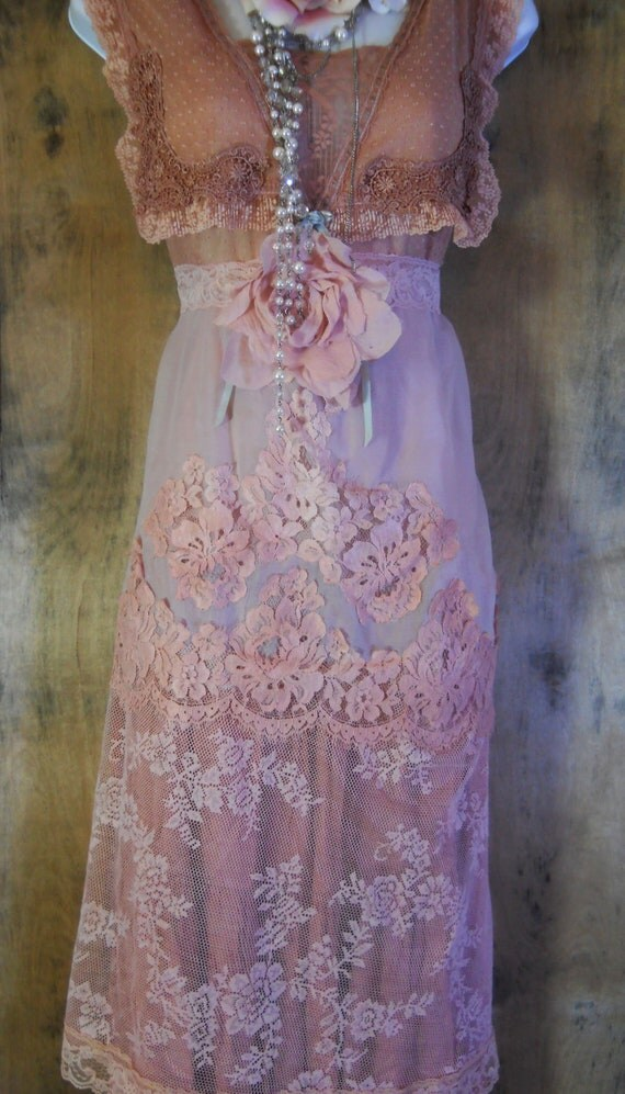 RESERVED for Natalia Petrov Nude lace dress edwardian style fairytale rose  vintage   romantic medium large  by vintage opulence on Etsy