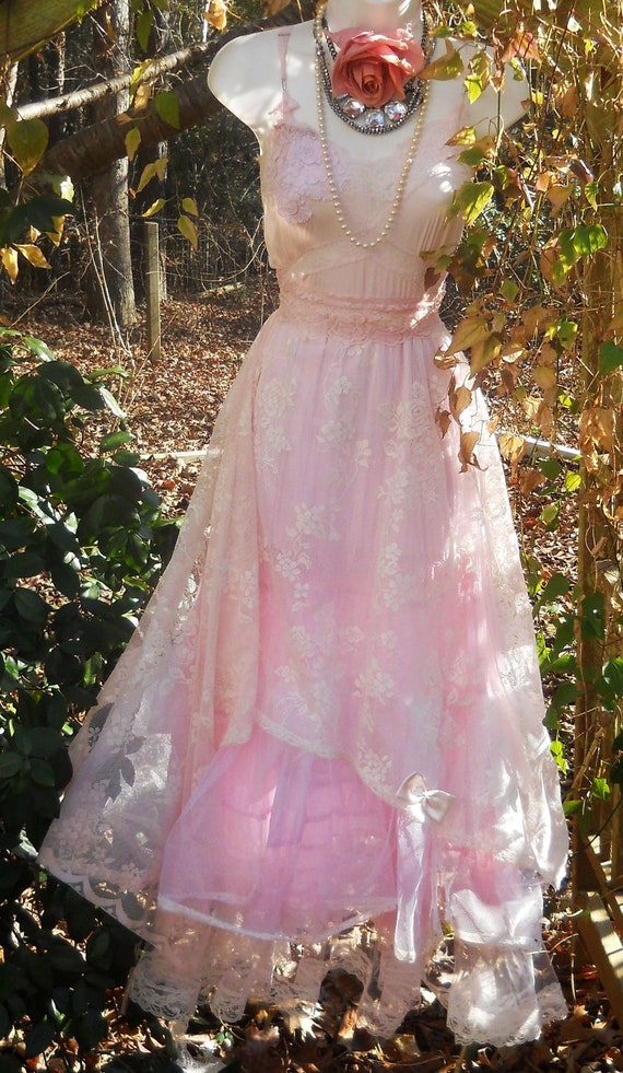 Pink lace dress tulle tiered cupcake roman tic fairytale bow  rose  medium by vintage opulence on Etsy