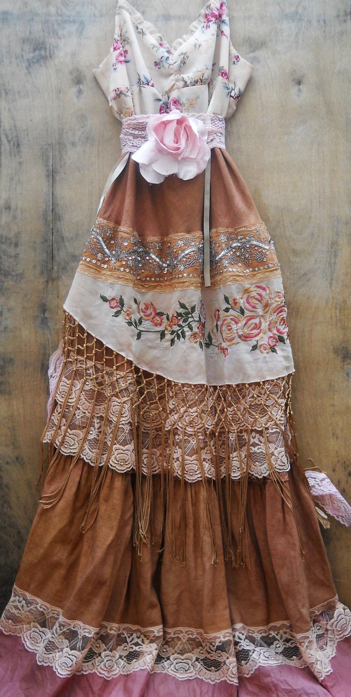 Gypsy Maxi Dress Boho Wedding Rustic Tassels Roses Beige Tea