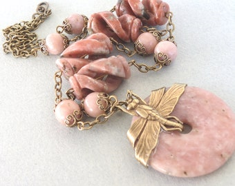 Pink Lepidolite and Oxidized Brass